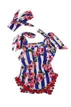 Blue stripe floral baby pom pom romp - orangeshine.com
