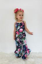 Navy Floral Girls Romper - orangeshine.com