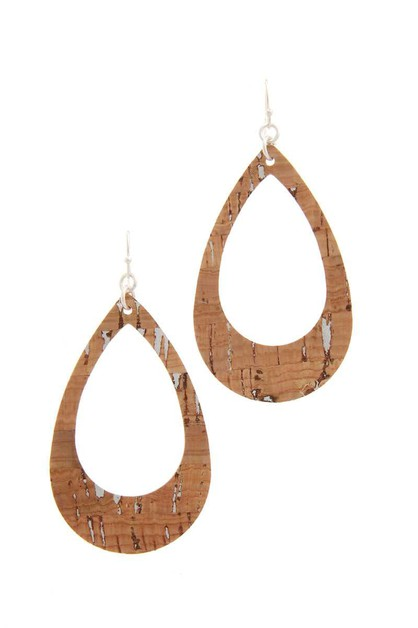 CUT OUT CORK TEARDROP SHAPE DROP EAR - orangeshine.com