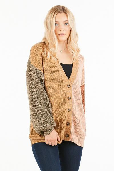 colorblock V neck knit cardigan - orangeshine.com