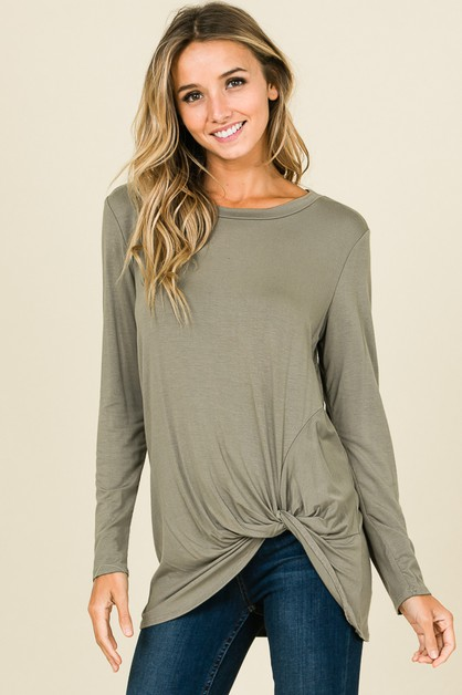 RELAXED FIT LONG SLEEVE KNOT TUNIC T - orangeshine.com