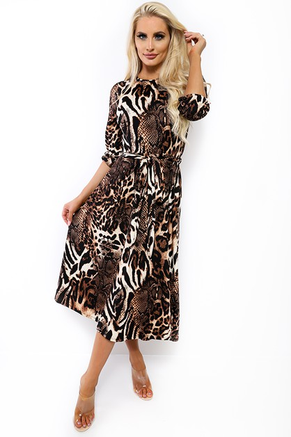 LONG SLEEVE ANIMAL PRINT MIDI DRESS  - orangeshine.com