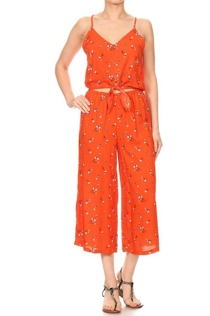 Orange Floral Jumpsuits Cropped - orangeshine.com