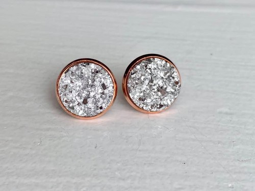 Silver Druzy in Rose Gold Setting - orangeshine.com
