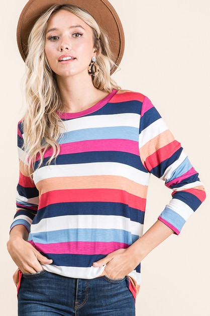 MULTI-COLOR STRIPE TOP  - orangeshine.com
