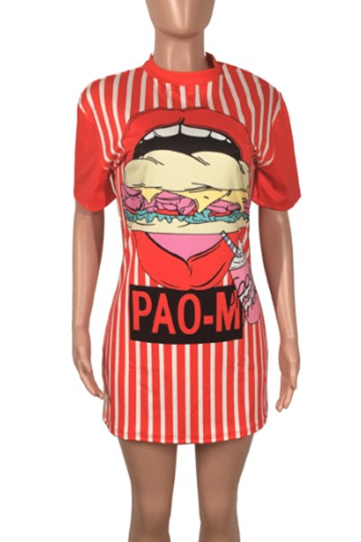 eating pattern printed dress - orangeshine.com