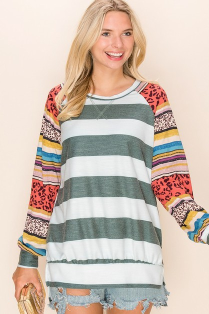 Relaxed Fit Stripe Print Top  - orangeshine.com