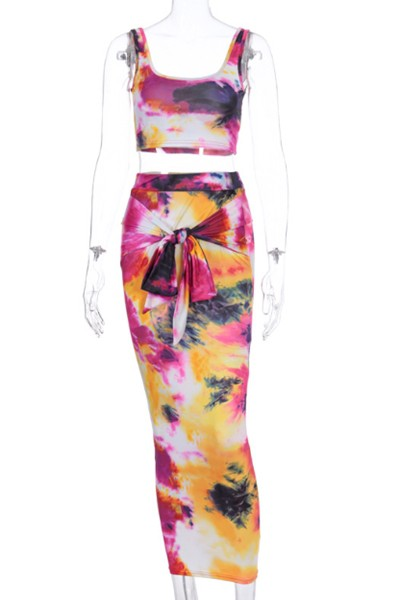 tie-dye belt hip skirt two piece set - orangeshine.com