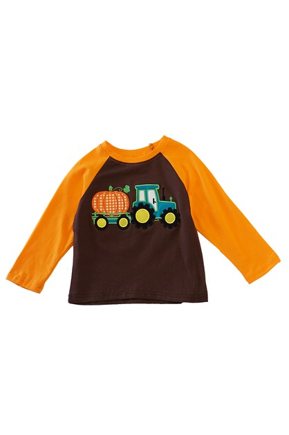 Pumpkin truck applique boy shirt - orangeshine.com