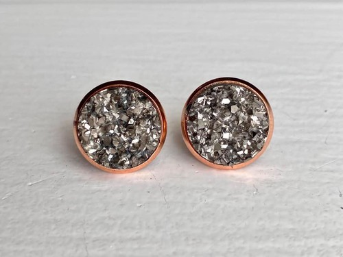 Gunmetal Druzy in Rose Gold Setting - orangeshine.com