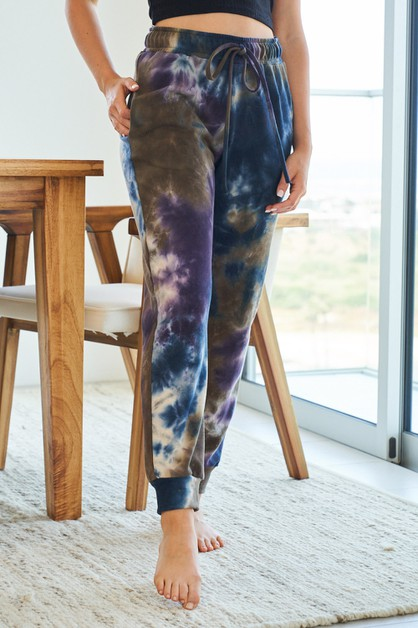 Tie Dye Knit Joggers With Pockets - orangeshine.com