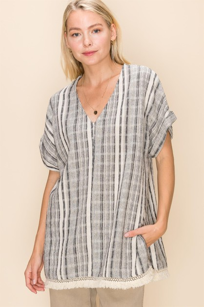 MULTI STRIPE FRINGE TRIM PONCHO TOP - orangeshine.com