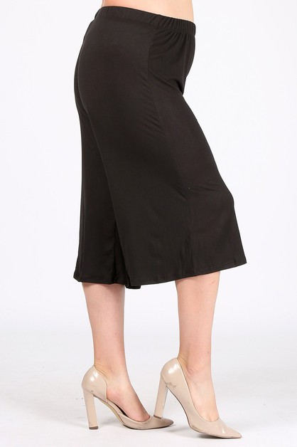 Plus Capri Wide Leg Pants - orangeshine.com