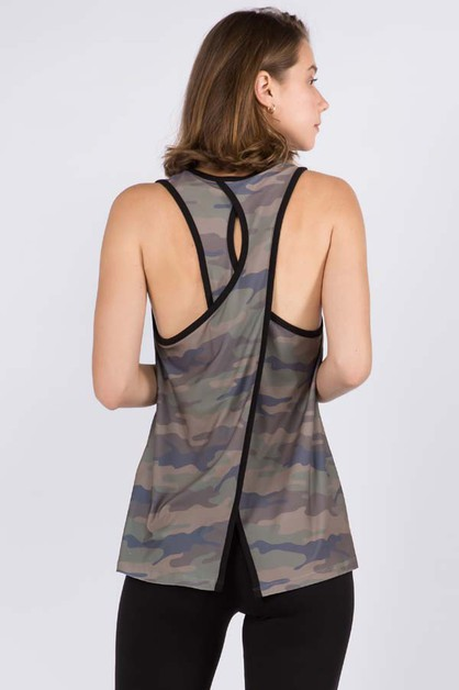 Womens Split Back Camouflage Top - orangeshine.com