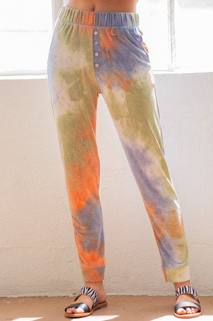 Tie Dye Button Jogger Pants With Pockets - orangeshine.com