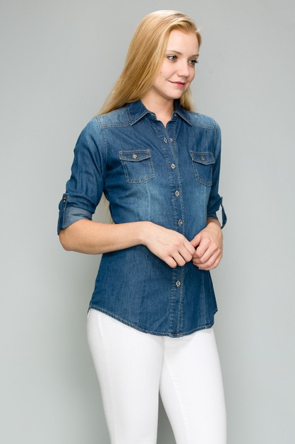 BASIC DENIM ROLL UP SLEEVE SHIRTS - orangeshine.com