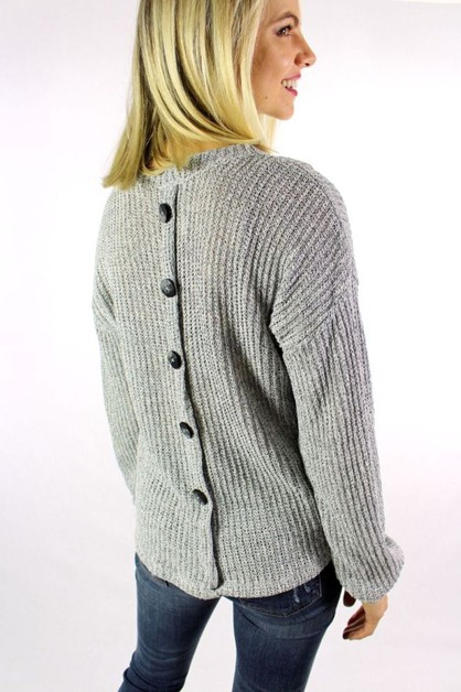Long Sleeve Sweater with Back Button - orangeshine.com
