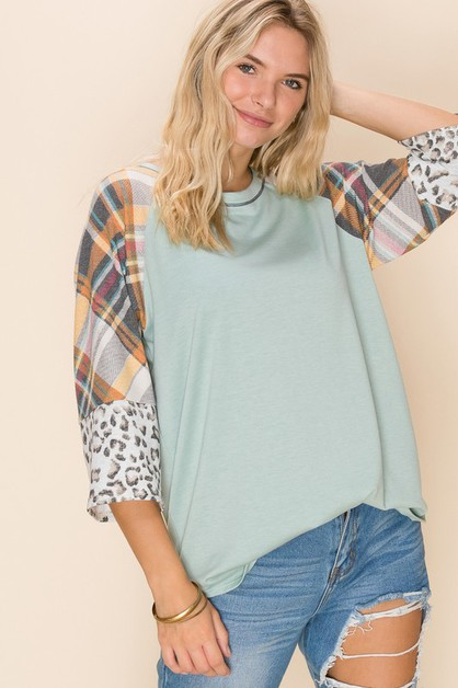 Relaxed Fit Solid Print Top - orangeshine.com