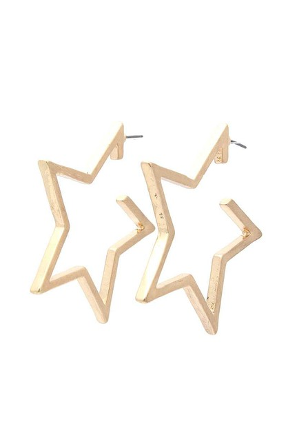 OPEN STAR HOOP EARRING - orangeshine.com