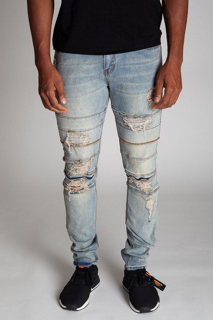 DESTROYED PANEL LAYRED JEANS - orangeshine.com