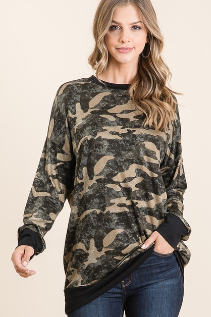 RELAXED FIT CAMO PRINT TUNIC  - orangeshine.com