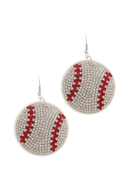 RHINESTONE PUFFY BASEBALL EARRING - orangeshine.com