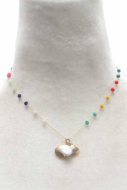 SHELL COIN PEARL NECKLACE  - orangeshine.com