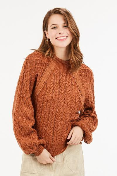 A mock neck, cable knit sweater - orangeshine.com
