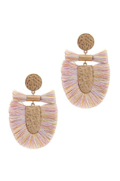 FAN TASSEL POST DROP EARRING - orangeshine.com