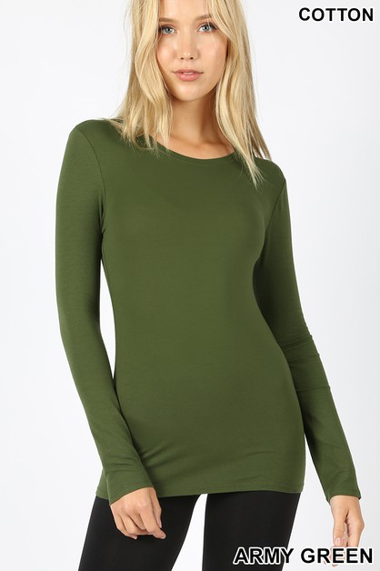 COTTON LONG SLEEVE ROUND NECK TOP - orangeshine.com