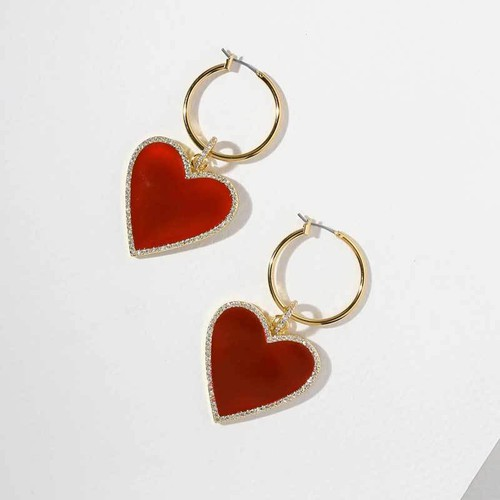 Red Heart Drop Earrings - orangeshine.com