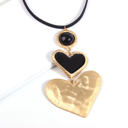 Double Black Heart Necklace - orangeshine.com