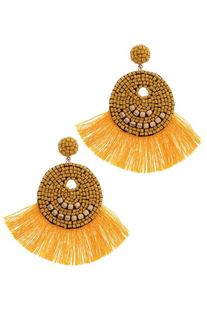 CIRCLE FAN TASSEL DROP EARRING - orangeshine.com