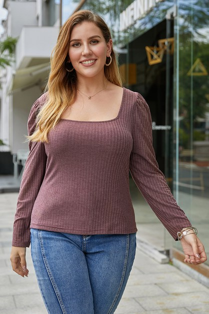 Square neck plus size T-shirt - orangeshine.com