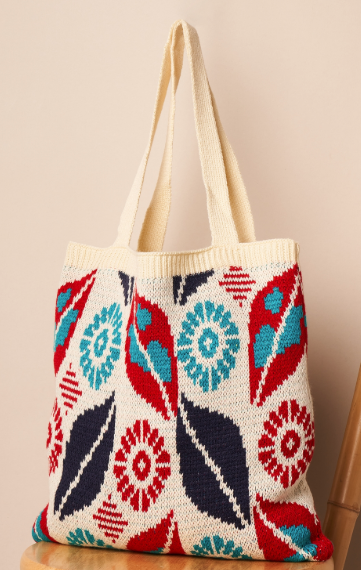 Multi Color Abstract Knit Tote - orangeshine.com