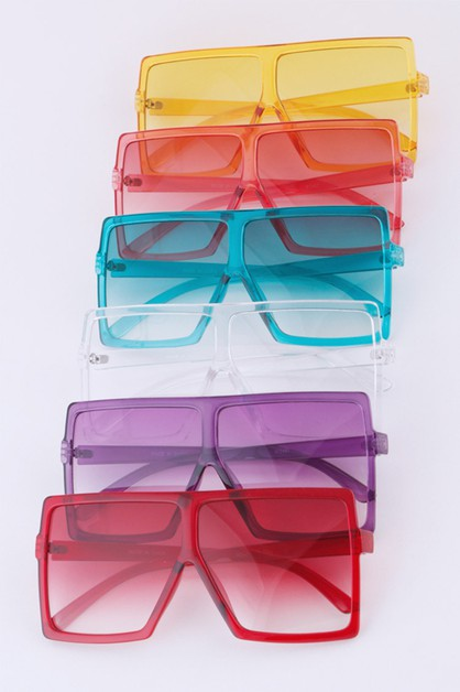 Color Tint Oversize Square Sunglasse - orangeshine.com