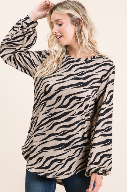 ZEBRA PRINTED KNIT TUNIC  - orangeshine.com