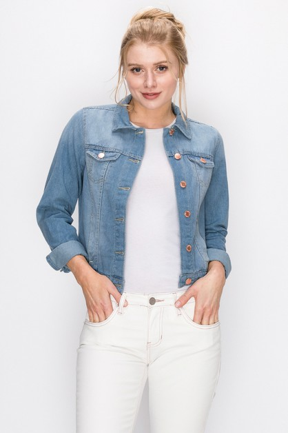 Womens Solid Cropped Denim Jacket - orangeshine.com