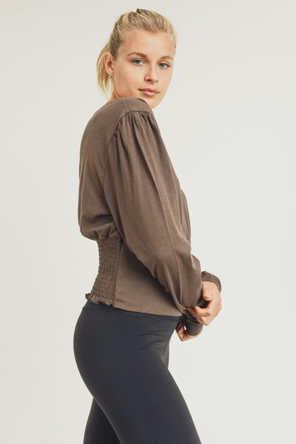 Crew Neck Cropped Top with Shirring Deta - orangeshine.com