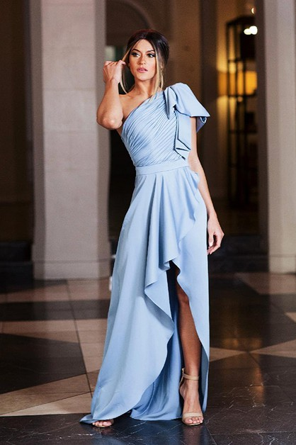 One Shoulder Satin Long Dress - orangeshine.com