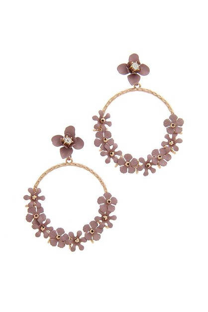 FLORAL HOOP POST DROP EARRING - orangeshine.com