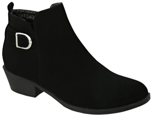 Single Buckle Low Heel Ankle Booties - orangeshine.com