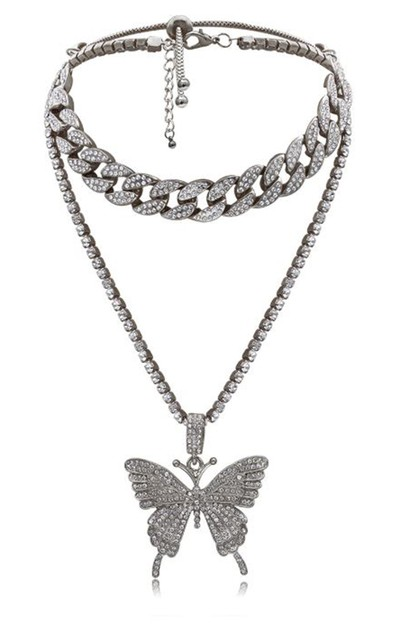 Layered Crystal Butterfly Necklace - orangeshine.com