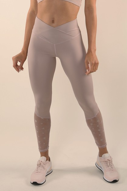 Stars Mesh Inserted Active Legging - orangeshine.com