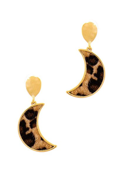 CRESCENT MOON AND LEOPARD FUR EARRIN - orangeshine.com