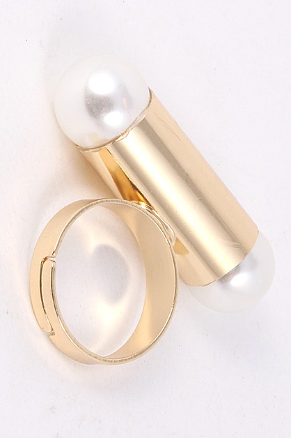 Double Pearl Ended Adjustable Ring - orangeshine.com