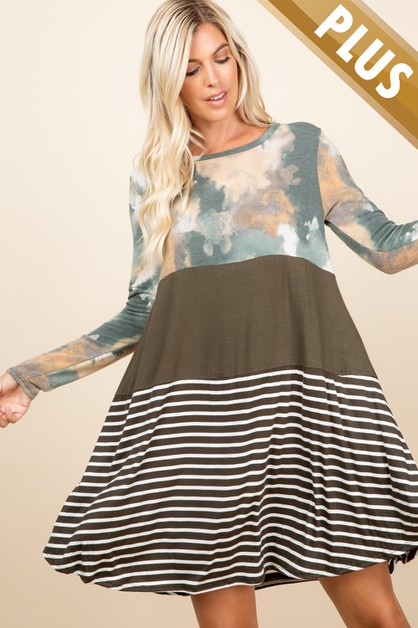PLUS SIZE TIE DYE WITH STRIPED DRESS - orangeshine.com