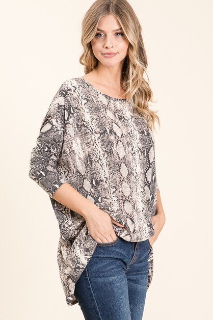 LOOSE FIT SNAKESKIN PRINT TUNIC - orangeshine.com