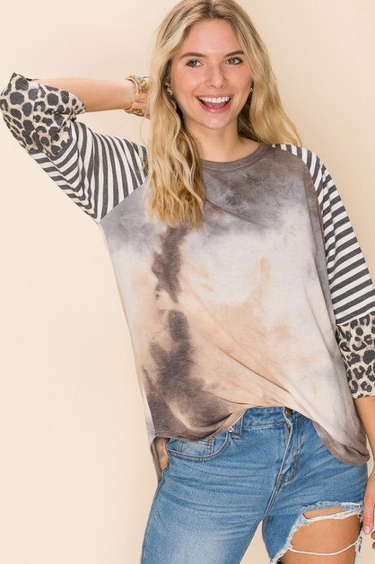 Relaxed Fit Tie-Dye Print Top - orangeshine.com