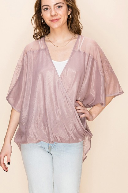 CROSSOVER TOP WITH SHOULDER EMBROIDE - orangeshine.com